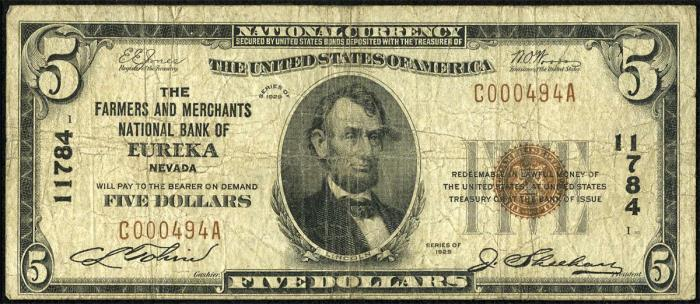Series 1929 $5 Dollar Bill National Currency