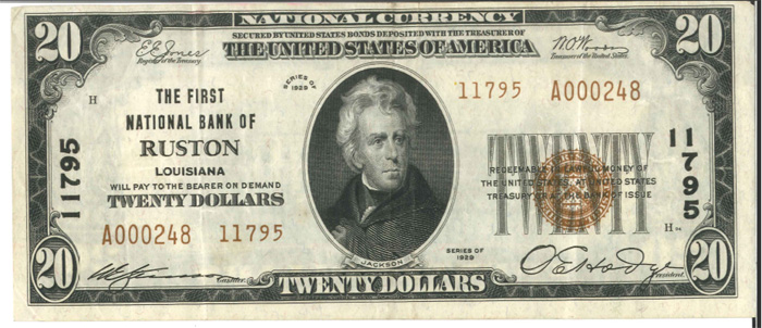 Series 1929 $20 Dollar Bill National Currency