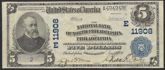 Series 1902 $5 Dollar Bill National Currency