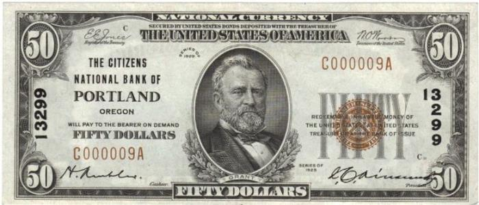 Series 1929 $50 Dollar Bill National Currency