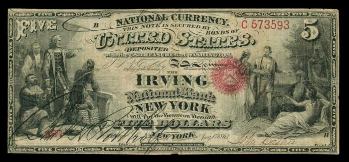Series 1863 $5 Dollar Bill National Currency