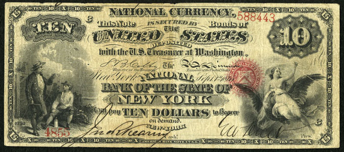 Series 1863 $10 Dollar Bill National Currency