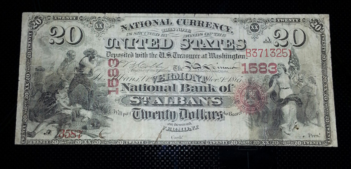 Series 1875 $20 Dollar Bill National Currency