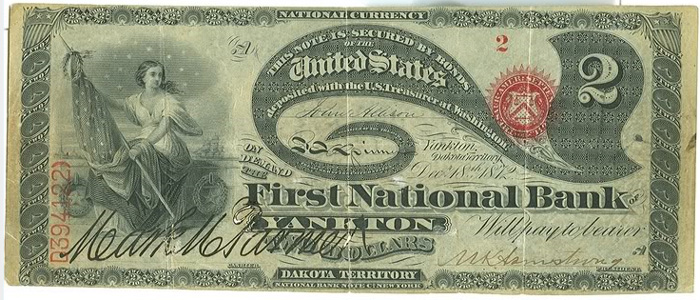 Series 1863 $2 Dollar Bill National Currency