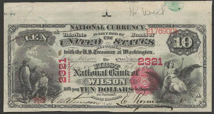 Series 1875 $10 Dollar Bill National Currency