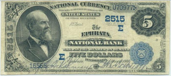 Series 1882 $5 Dollar Bill National Currency
