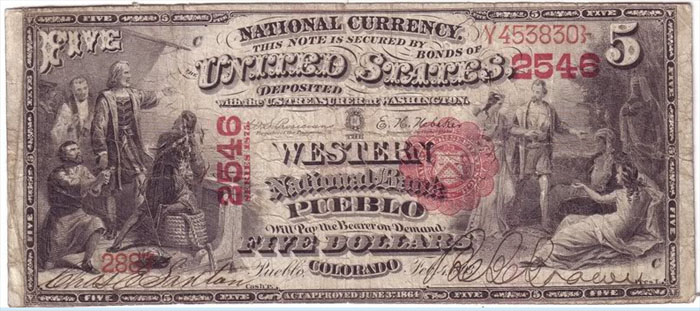 Series 1875 $5 Dollar Bill National Currency