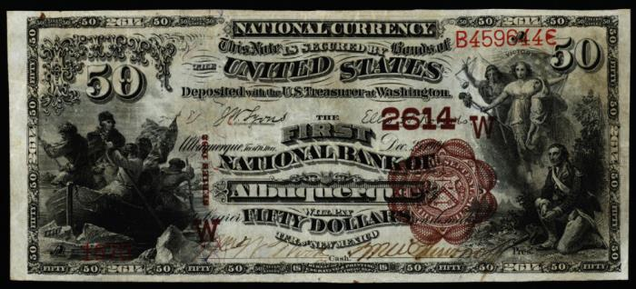 Series 1882 $50 Dollar Bill National Currency