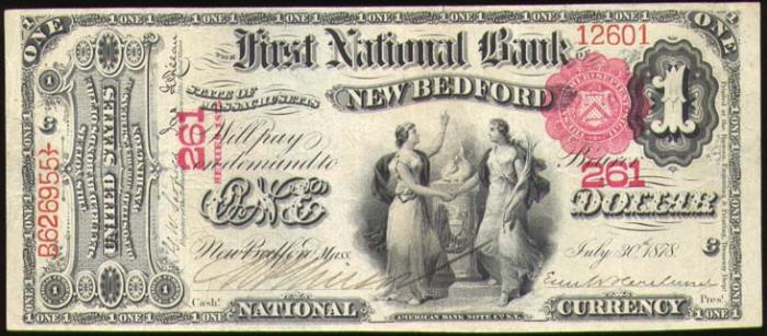 Series 1875 $1 Dollar Bill National Currency