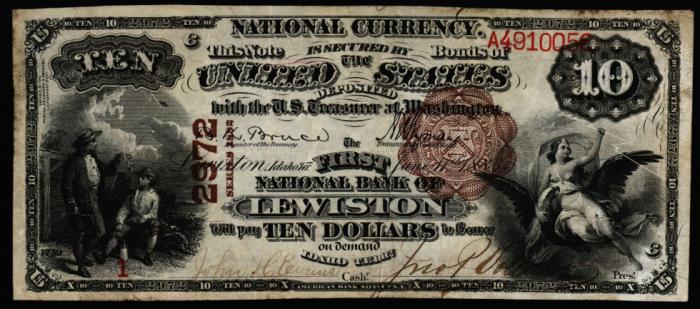 Series 1882 $10 Dollar Bill National Currency