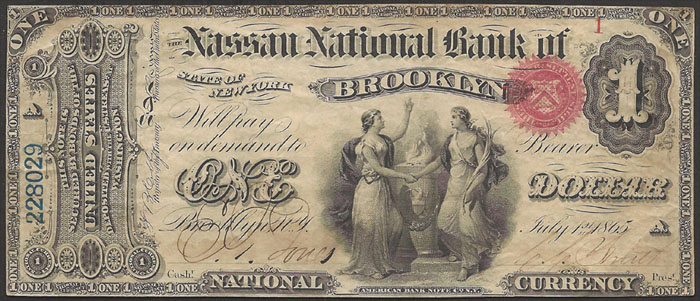 Series 1863 $1 Dollar Bill National Currency