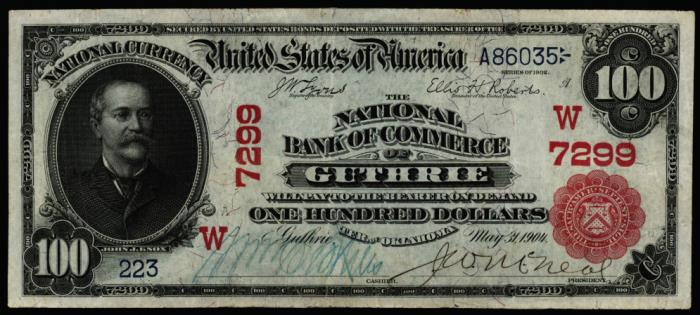 Series 1902 $100 Dollar Bill National Currency