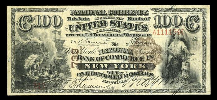 Series 1882 $100 Dollar Bill National Currency
