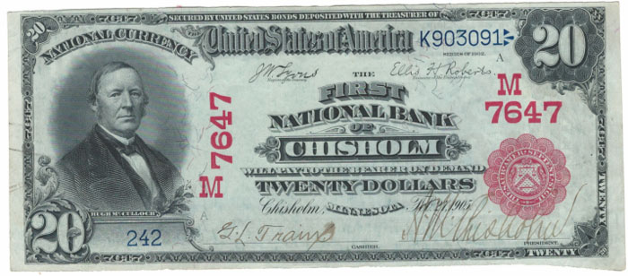Series 1902 $20 Dollar Bill National Currency