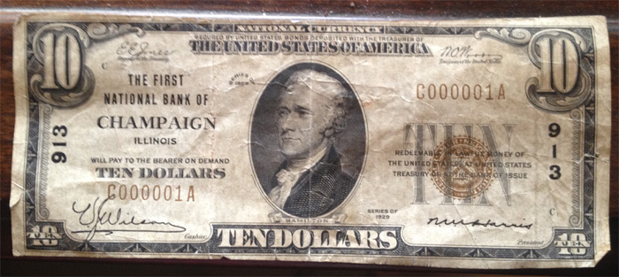 Series 1929 $10 Dollar Bill National Currency