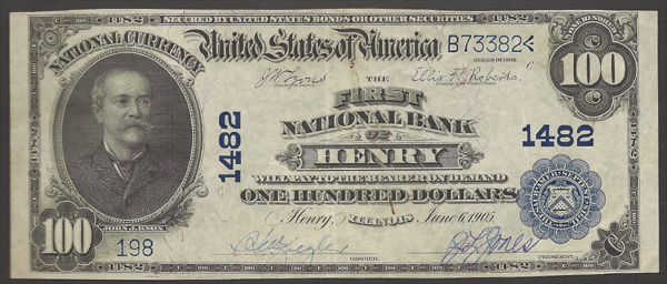 Henry Illinois 1902 Blue Seal National Currency