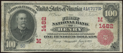Henry, Illinois Series 1902 $100.00 Red Seal National Currency Bank Note
