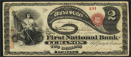 National Currency 1875 $2.00 Lazy Deuce