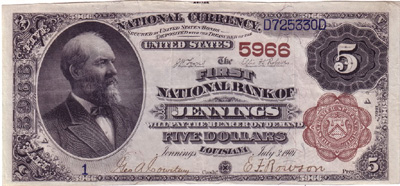 Series 1882 $5.00 Brownback National Currency Bank Note from Jennings, Louisiana