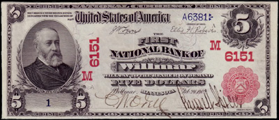 Wilmar, Minnesota Series 1902 $5.00 Red seal National Currency Bank Note