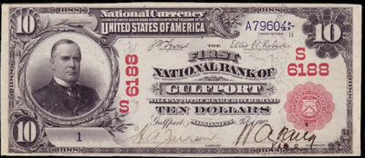 Gulfport, Mississippi Series 1902 $10.00 Red seal National Currency Bank Note