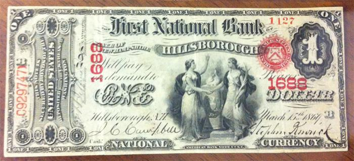 Series 1865 $1 Dollar Bill National Currency
