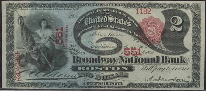 Series 1865 $2 Dollar Bill National Currency