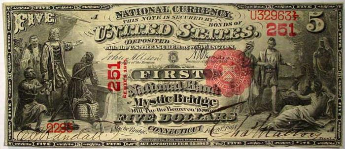 Series 1865 $5 Dollar Bill National Currency