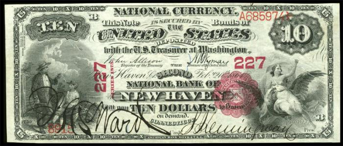 Series 1865 $10 Dollar Bill National Currency