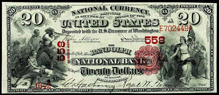 Series 1865 $20 Dollar Bill National Currency