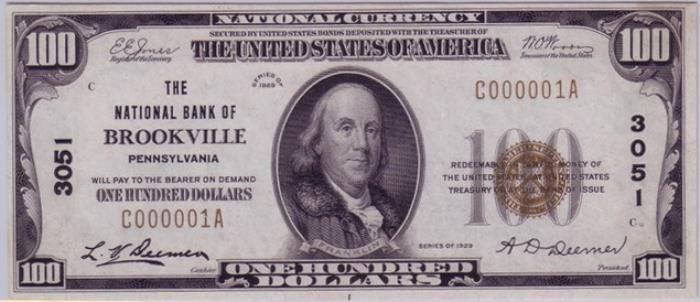 Series 1929 $100 Dollar Bill National Currency