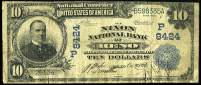 Reno, Nevada National Currency Bank Note Series 1902 Blue Seal