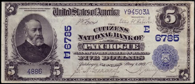 Patchogue, New York Series 1902 $5.00 National Currency Bank Note