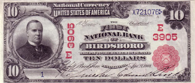 Birdsboro, Pennsylvania Series 1902 $10.00 Red Seal National Currency Bank Note