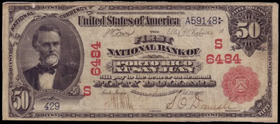 Island of Porto Rico National Currency Bank Note Series 1902 Red Seal