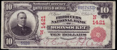 Woonsocket, Rhode Island Series 1902 $10.00 Red seal National Currency Bank Note