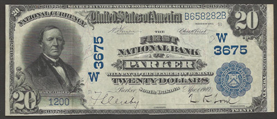 Parker, South Dakota Series 1902 $20.00 National Currency Bank Note