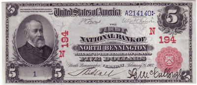 North Bennington, Vermont Series 1902 $5.00 Red Seal National Currency Bank Note
