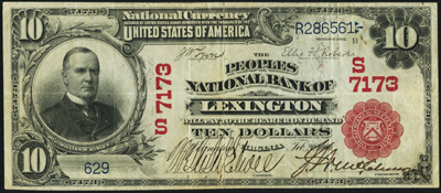Lexington, Virginia Series 1902 $10.00 Red Seal National Currency Bank Note