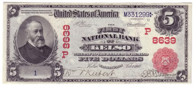 Kelso, Washington Series 1902 $5.00 Red Seal National Currency Bank Note