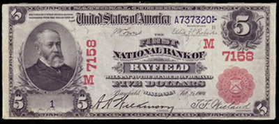 Bayfield, Wisconsin Series 1902 $5.00 Red Seal National Currency Bank Note